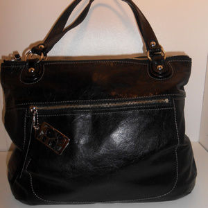 LE Coach Jet Black Patent Leather Poppy Glam Tote